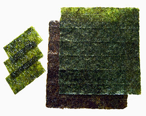 nori sheets, raw and toasted