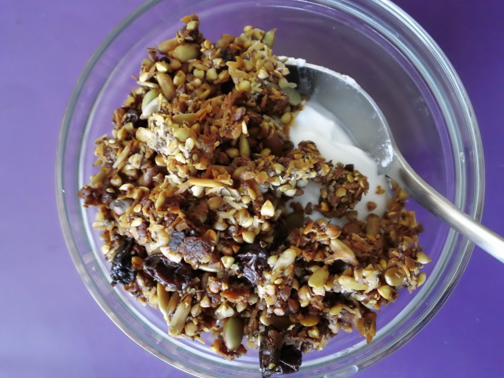 buckwheat cereal, with yogurt.