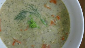 Lemon Rice Soup, with fresh dill and flowers