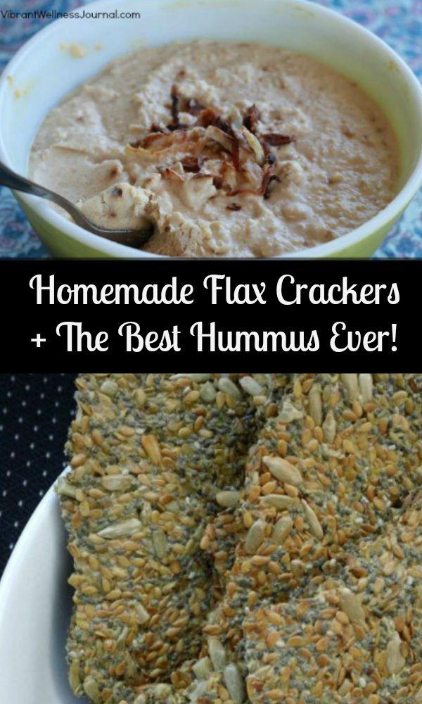 Homemade Flax crackers + best hummus ever