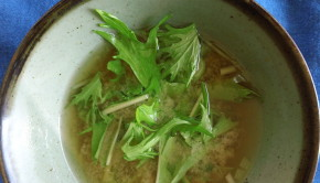 miso soup with mizuna greens