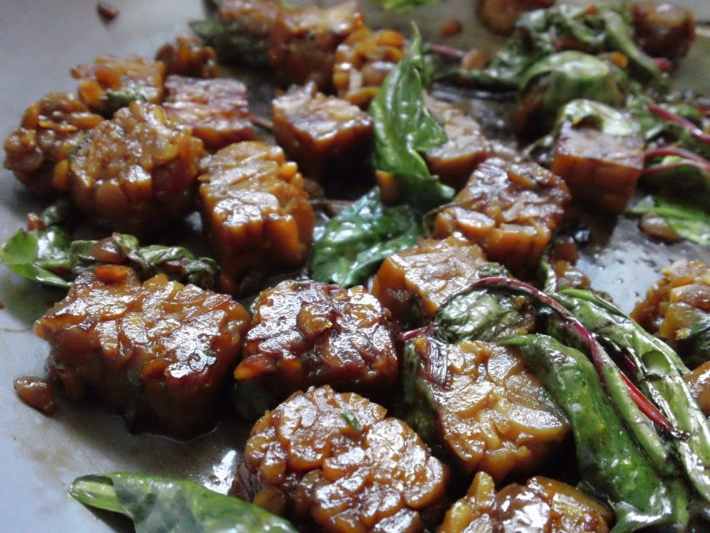 sweet and sour tempeh with greens