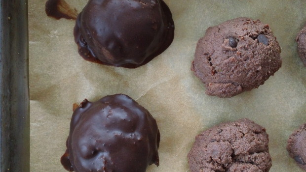 when truffles are frozen, the chocolate coating solidifies immediately!