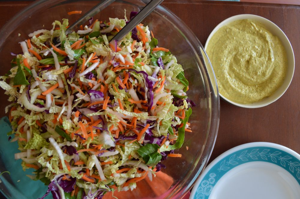 creamy almond dressing with hempseeds