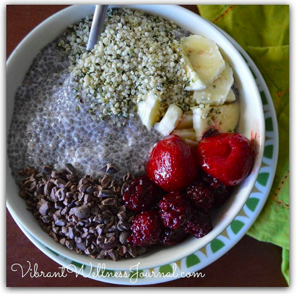 chia pudding with cacao nibs