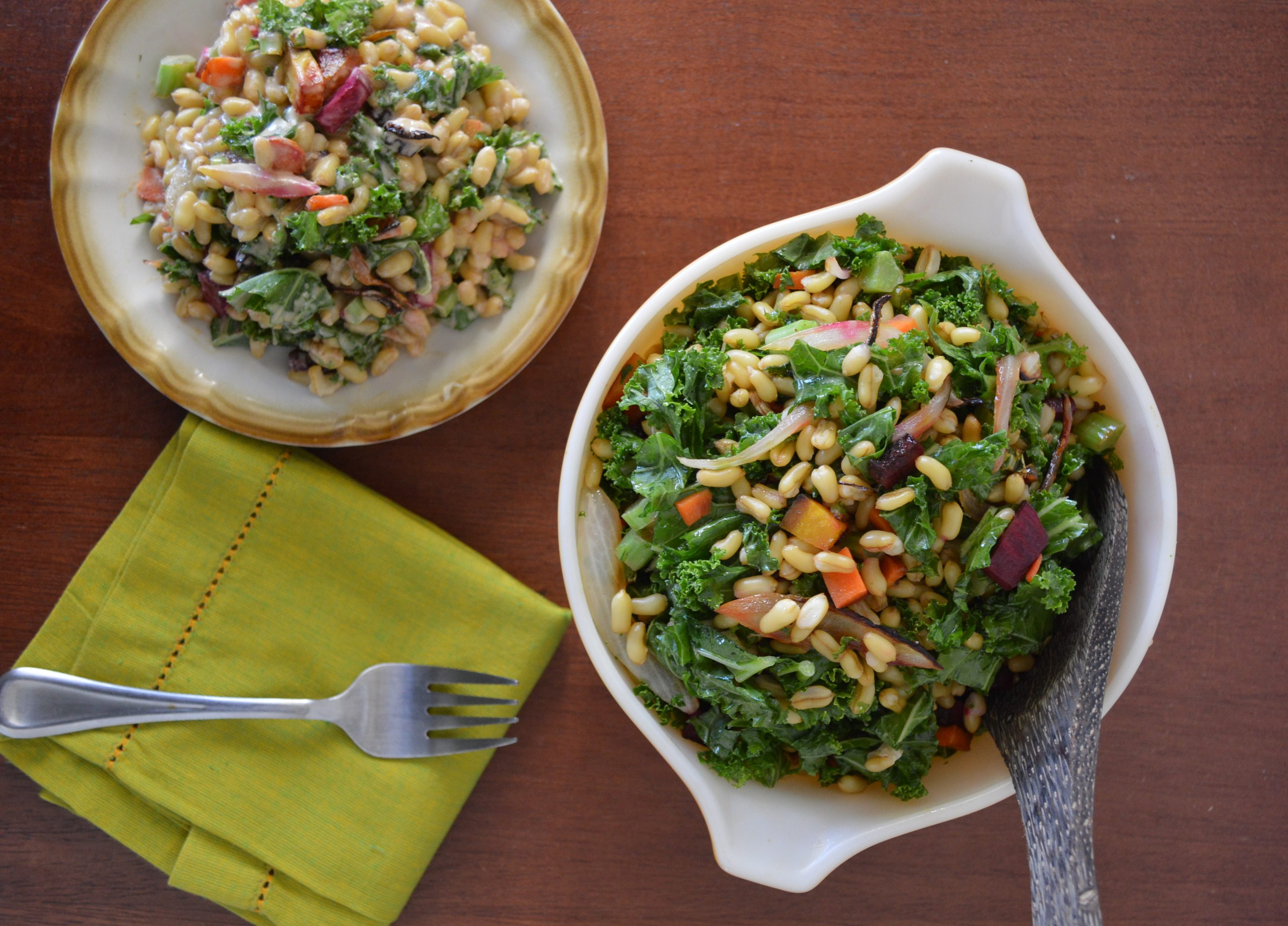kale and whole grain salad