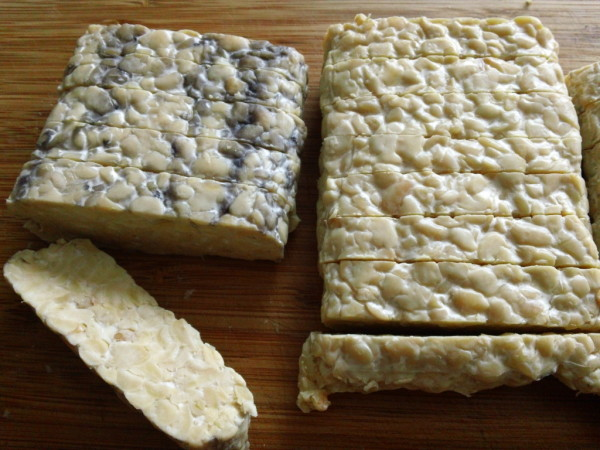 fresh tempeh with black spots