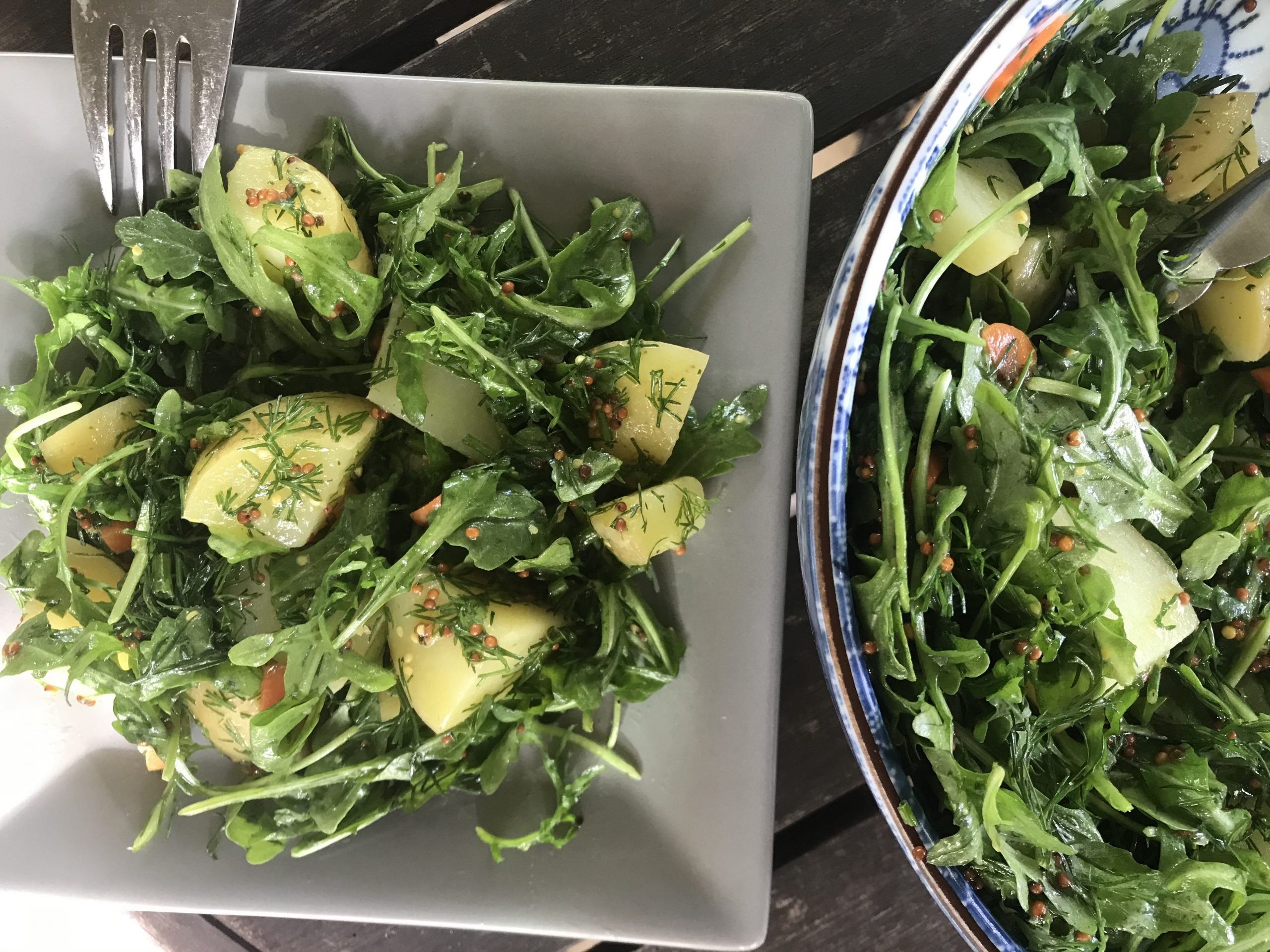 bright green potato salad