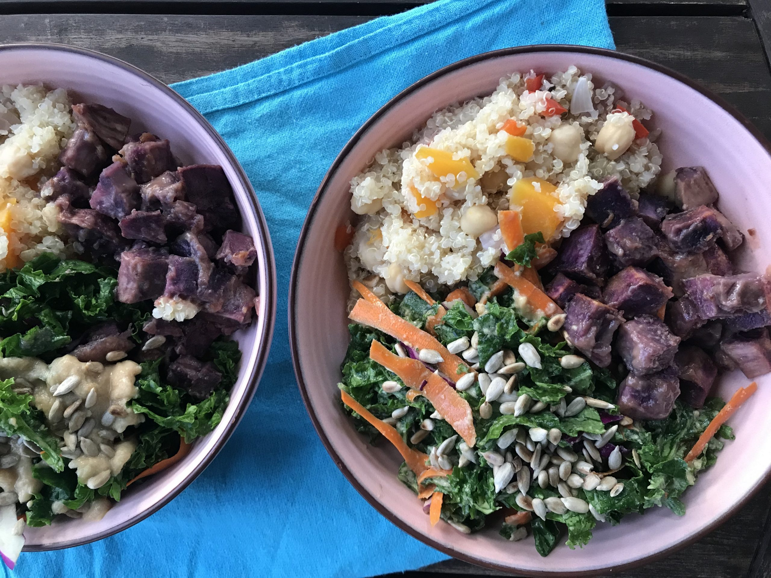 Eat the rainbow: miso glazed sweet potatoes, quinoa pilaf with chickpeas, red pepper, and butternut, and kale salad with carrot and sunflower seeds + tahini dressing.